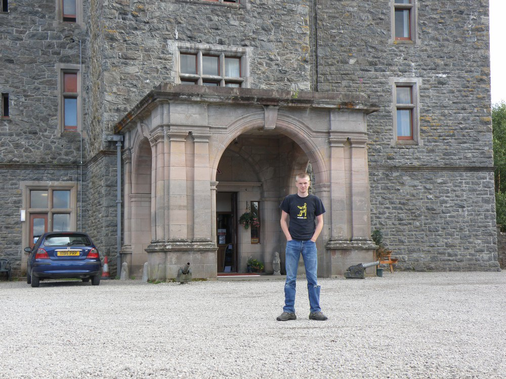 Gordon outside Carbisdale Castle