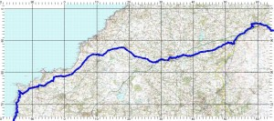 Okehampton to Treyarnon Bay route